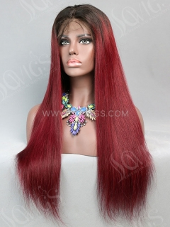 180% Density Lace Front Wig Straight Ombre 1B/99J Color Human Hair