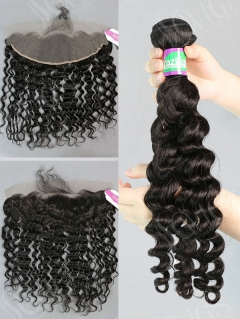 3 Bundles with Frontal Brazilian Deep Wave Human Virgin Hair
