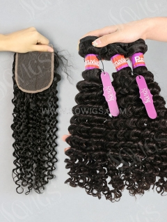 3 Bundles with Lace Closure Deep Curly Human Virgin Hair