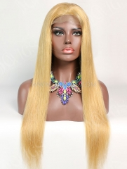 180% Density #520 Color Lace Closure Wig Straight Human Hair