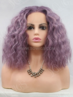 Synthetic Lace Front Wig Bob Wave Lavender Color Hair