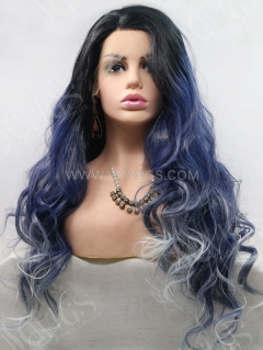 Synthetic Lace Front Wig Wave Flash Saphire With Dark Roots Hair