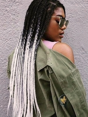 Synthetic Lace Front Wig Ombre Grey Color Box Braids Hair