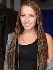 Synthetic Lace Front Wig Brown Color Box Braids Hair