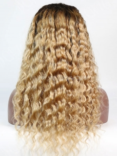 130% Density Lace Front Wig Ombre Color T4/27 Deep Wave Human Hair