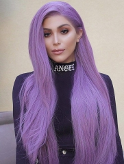 Synthetic Lace Front Wig Straight Lavender Color Hair
