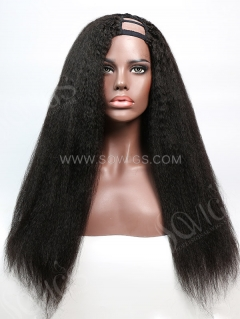 U Part Wig Kinky Straight Human Hair