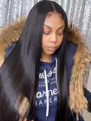 130% Density Straight Pre Plucked Lace Front Wig Human Hair Wig