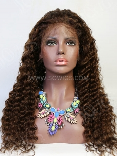 130% Density #4 Color Full Lace Wig Deep Wave Human Hair