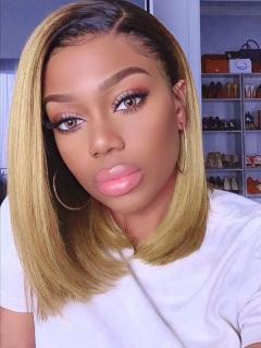 150% Density Lace Front Wig Bob Straight Ombre T4/27 Color Human Hair