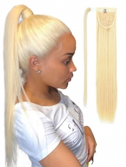 Ponytail With Magic Stickers Clip Ins #613 Blonde Color Human Hair