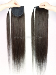 Ponytail With Magic Stickers Clip Ins Straight Human Hair