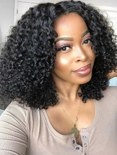 180% Density Lace Frontal Wig Celebrity Style Small Kinky Curly Wig Bob Wig Human Hair