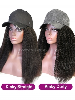 Cap With Kinky Hair 100% Virgin Human Hair Hat Wig