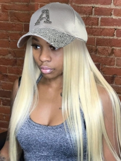 613 Blonde Color Cap With 100% Virgin Human Hair Hat Wig