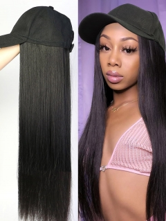 Cap With Straight Hair 100% Virgin Human Hair Hat Wig