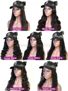 Cap Hair 100% Virgin Human Hair Hat Wig