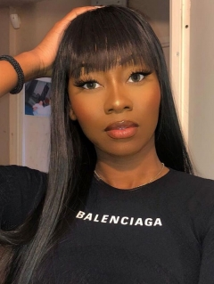 Full Machine Made Wig With Bangs Human Hair