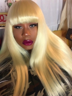 613 Blonde Color Full Machine Made Wig With Bangs Human Hair