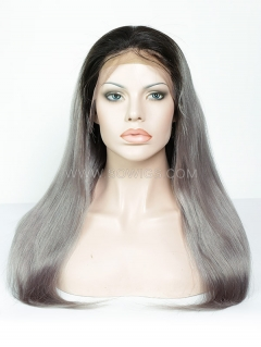 130% Density 1B/Grey Color Straight Lace Front Wig Human Hair