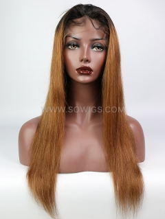 130% Density T1B/30 Color Straight Lace Front Wig Human Hair