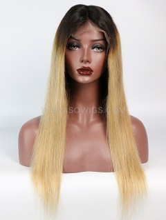 130% Density T1B/27 Color Straight Lace Front Wig Human Hair