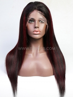 130% Density Highlight 1B/99J Color Straight Lace Front Wig Human Hair