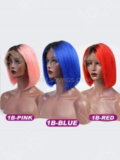 150% Density Lace Front Wig Ombre Color Bob Straight Human Hair